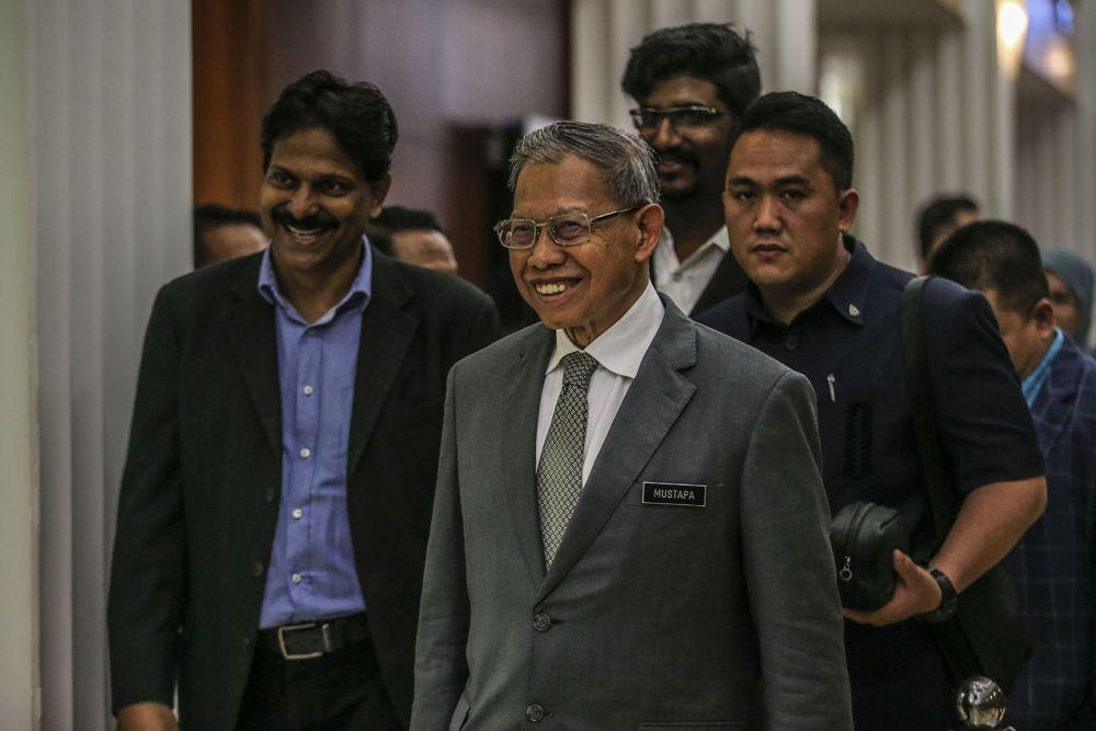 Jeli MP Datuk Seri Mustapa Mohamed is pictured at Parliament in Kuala Lumpur July 16, 2020. — Picture by Hari Anggara