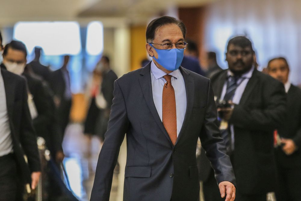 Opposition leader Datuk Seri Anwar Ibrahim is pictured at Parliament in Kuala Lumpur July 16, 2020. — Picture by Hari Anggara