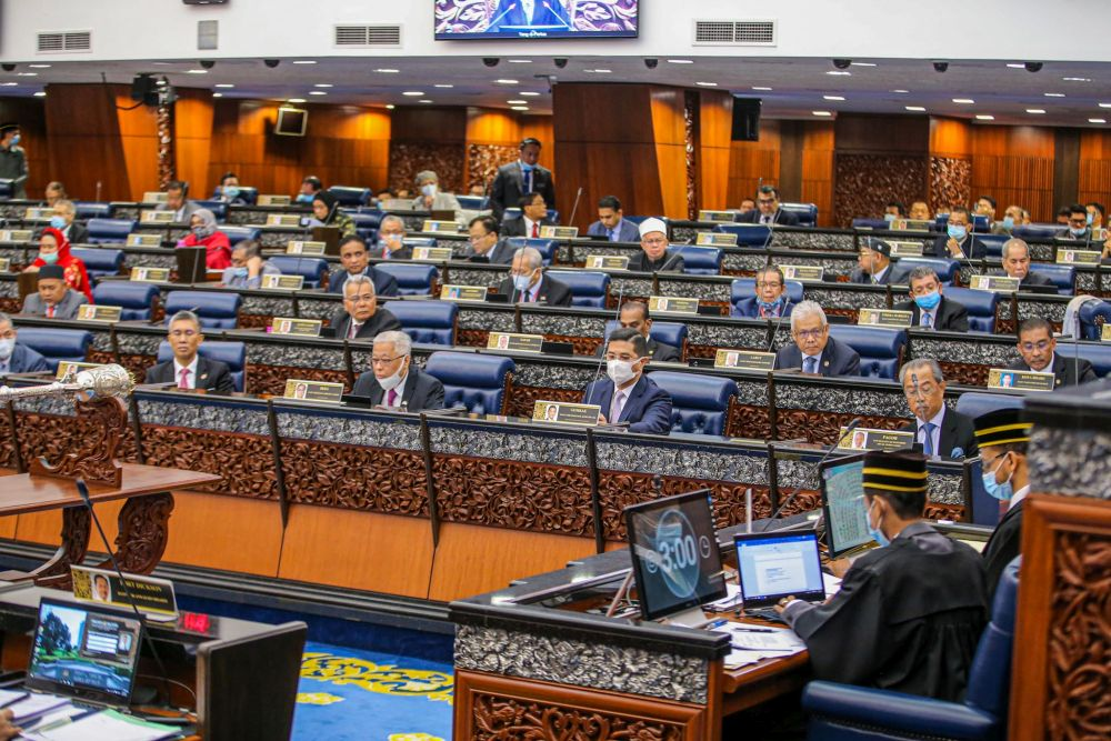 Members of Parliament are pictured during the second meeting of the third session of the 14th Parliament in Kuala Lumpur July 13, 2020. — Picture by Hari Anggara
