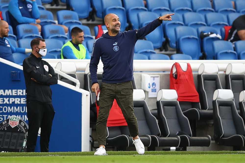 Manchester City manager Pep Guardiola during the EPL match with Brighton & Hove Albion at the American Express Community Stadium, Brighton, Britain July 11, 2020. — Pool pic via Reuters