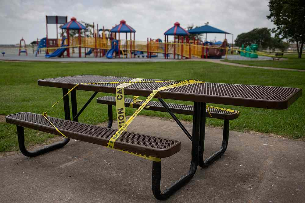 An empty playground is surrounded by caution tape amid the Covid-19 outbreak in Seabrook, Texas July 8, 2020. — Reuters pic
