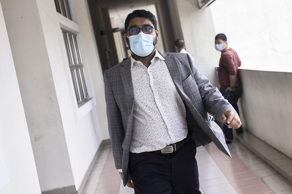 Former psychiatrist Dr Gurdeep Singh is seen at the Magistrates' Court in Petaling Jaya July 29, 2020. ― Picture by Miera Zulyana