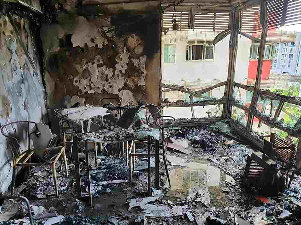 The aftermath of a fire that blazed through a flat in Punggol East in Singapore July 21, 2020. — Singapore Civil Defence Force pic via TODAY