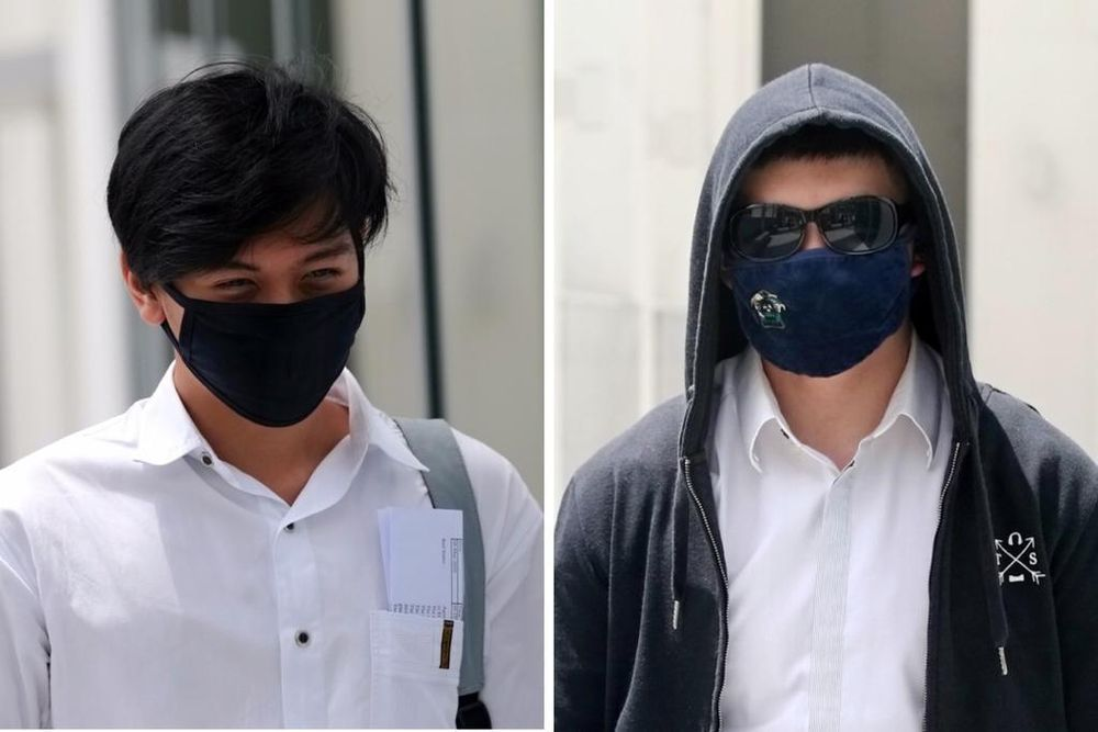Quek Xuan Zhi (left) and Nigel Pang Yew Ming (right) photographed on April 9, 2020, when they were charged in court with causing public nuisance. — TODAY pic