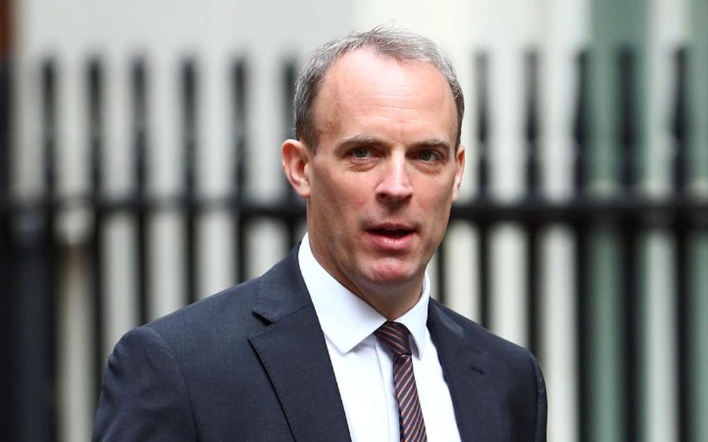 Britain's Foreign Secretary Dominic Raab arrives at Downing Street ahead of a cabinet meeting in London, July 14, 2020. — Reuters pic