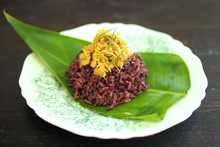 Tender, delicious duck brisket 'rendang' is paired with fluffy good-for-you black rice from Rendang Itik Tonggek by Sis Ma. — Pictures by Lee Khang Yi