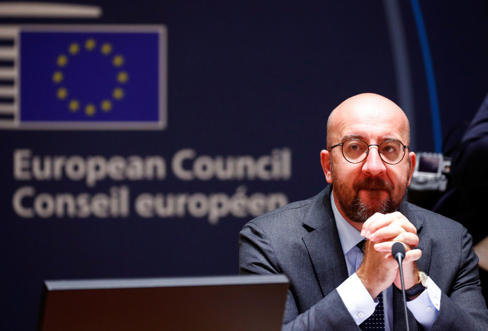 Tied with the EU's long-term budget, European Council President Charles Michel said the total stimulus would reach €1.8 trillion and that this would go a long way to reversing Europe's massive recession. — Picture by Francois Lenoir/Pool via Reuters