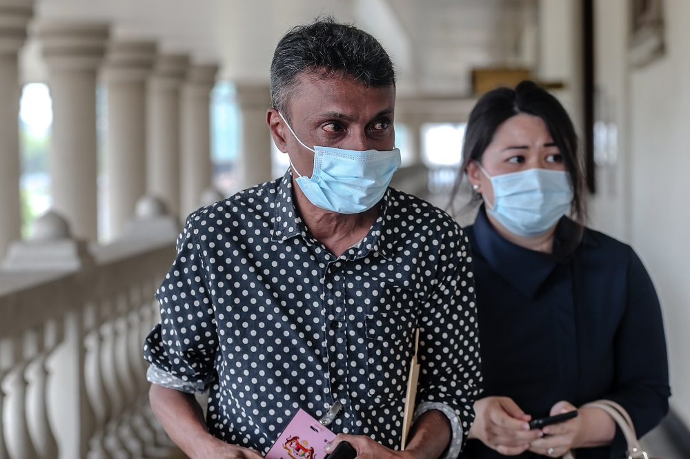 Kevin Morais' brother, Datuk Richard Morais, is pictured at the Kuala Lumpur High Court July 10, 2020. ― Picture by Firdaus Latif