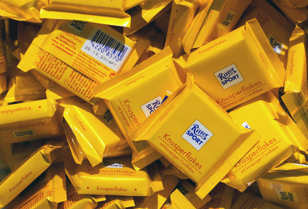 This file photo taken December 13, 2013 shows bars of chocolate on display at the Ritter Sport shop in Berlin. — AFP pic