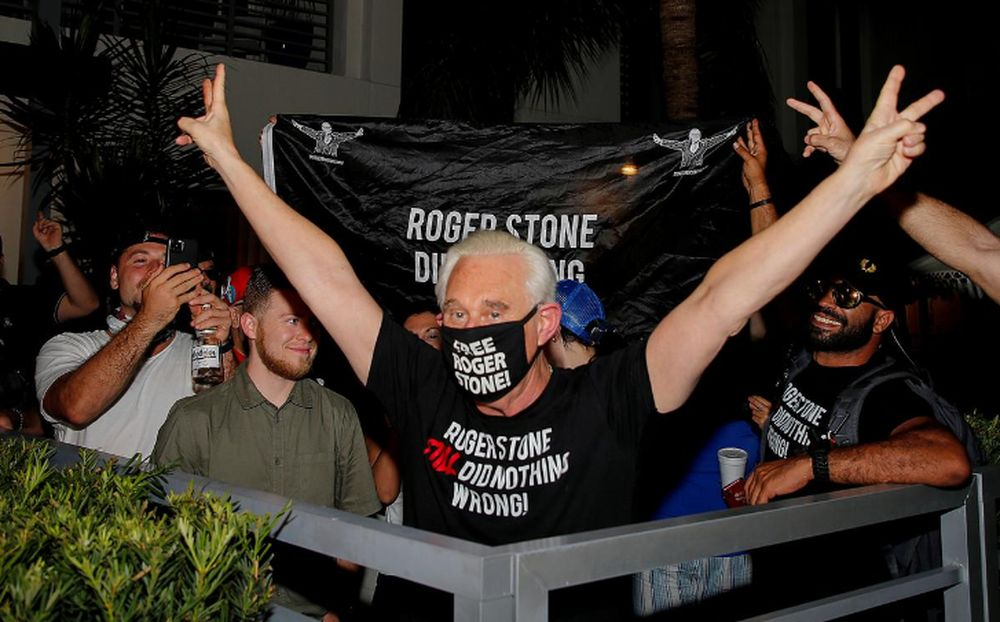 Roger Stone, a long-time friend and adviser of US President Donald Trump, reacts after Trump commuted his federal prison sentence, outside his home in Fort Lauderdale, Florida, July 10, 2020. — Reuters pic