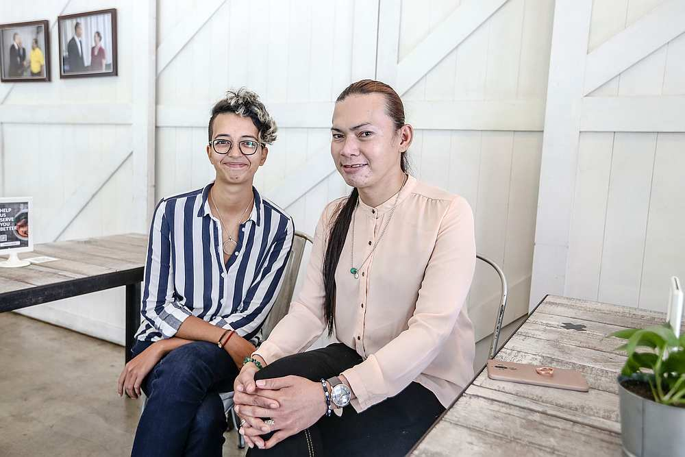 Roussille's (left) film about Moon's journey with HIV won a short film competition organised by the Malaysian AIDS Foundation in 2015. — Picture by Firdaus Latif