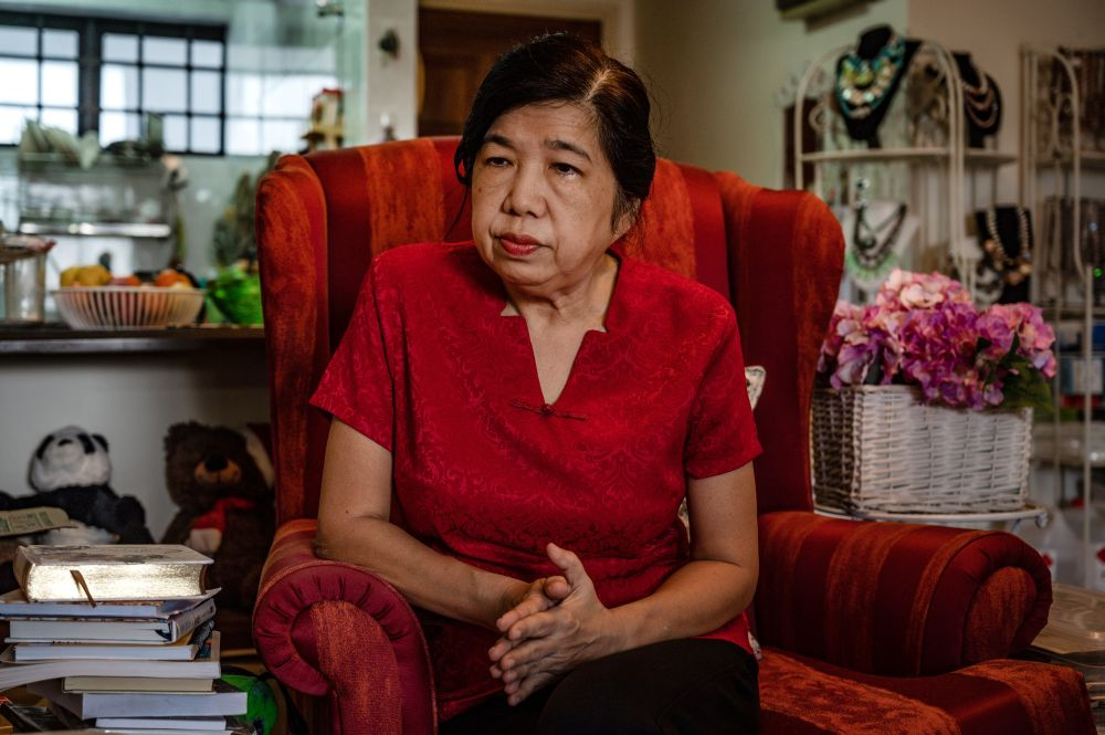 Susanna Liew, wife of abducted Malaysian Christian pastor Raymond Koh, listening to a question during an interview with AFP at her residence in Kuala Lumpur June 22, 2020. — AFP pic