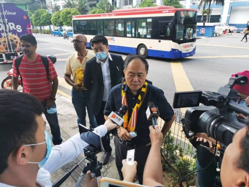 Bersih 2.0 chairman Thomas Fann speaks to reporters outside the Dang Wangi district police headquarters July 7, 2020. — Picture courtesy of Thomas Fann