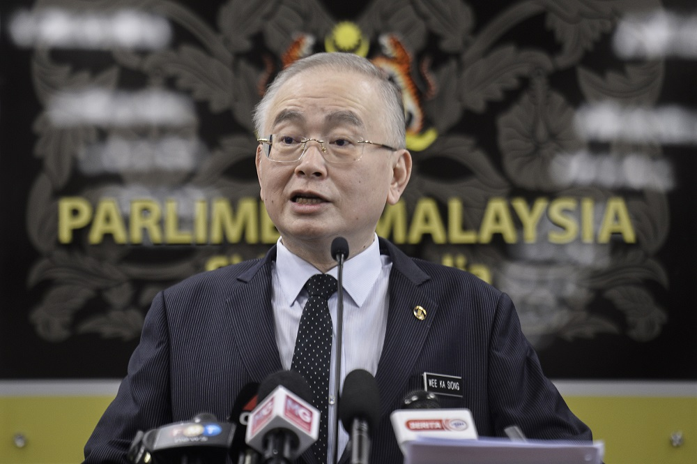 Transport Minister Wee Ka Siong speaks during a press conference at Parliament in Kuala Lumpur July 21, 2020. ― Picture by Miera Zulyana