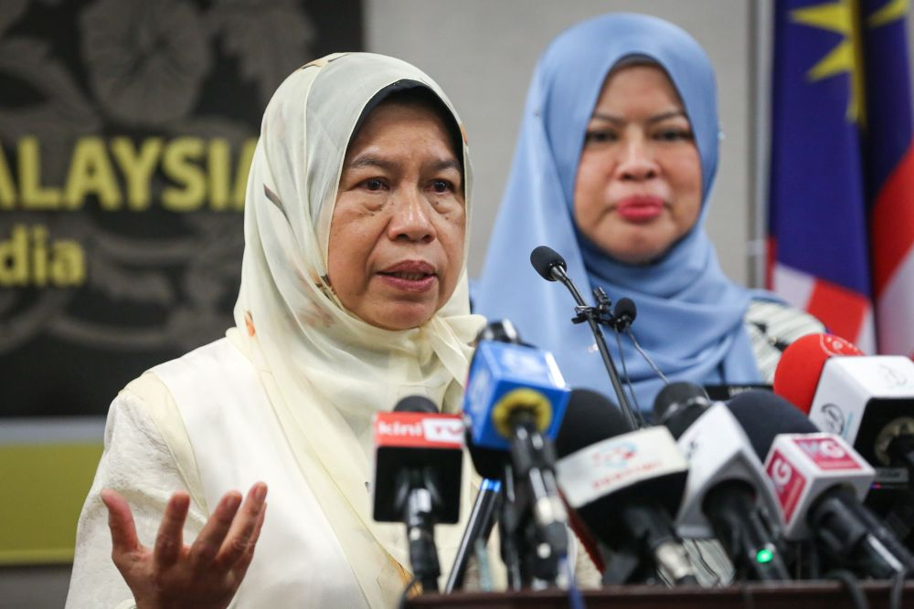 Housing and Local Government Minister Zuraida Kamaruddin speaks during a press conference at Parliament in Kuala Lumpur July 14, 2020. — Picture by Yusof Mat Isa