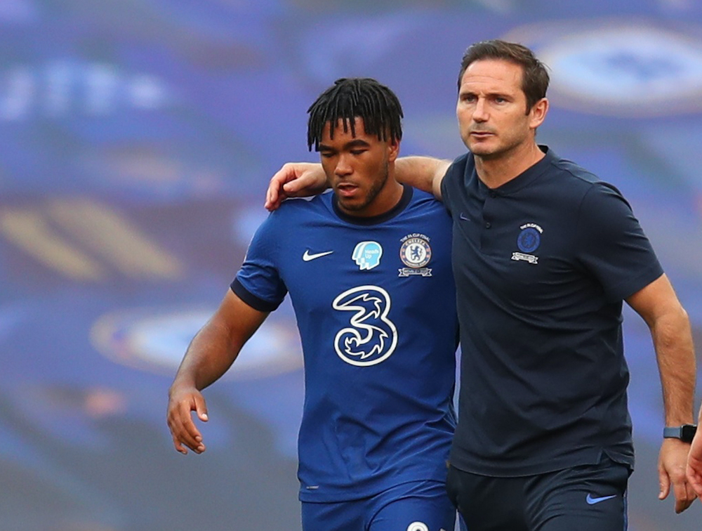 Chelsea manager Frank Lampard with Reece James after the match against Arsenal, London August 1, 2020. — Pool via Reuters/Catherine Ivill