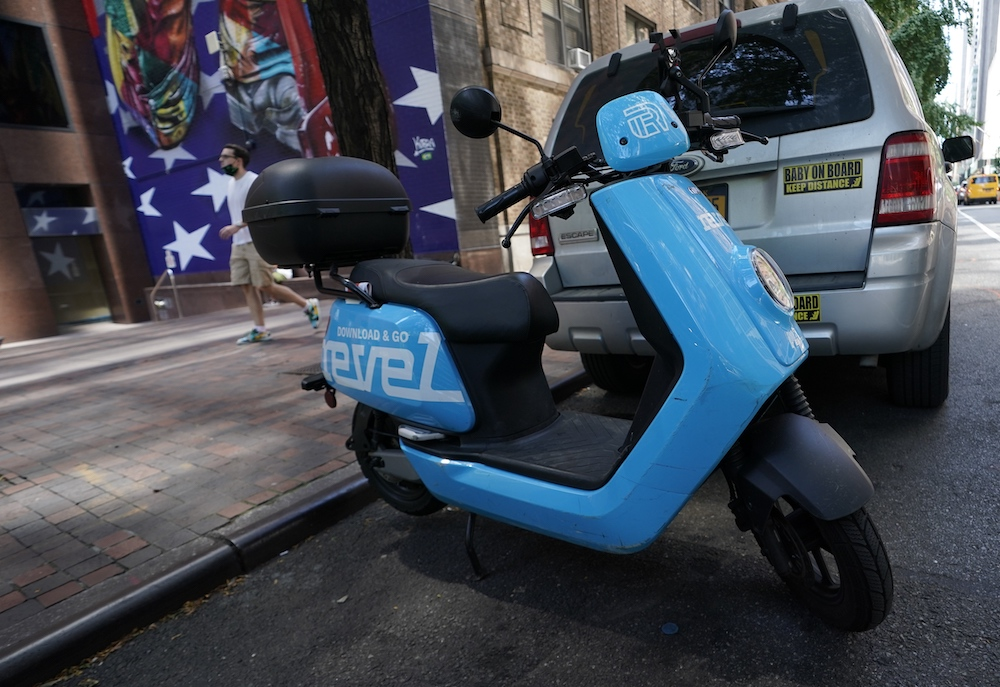 In this file photo a Revel ridesharing moped is seen parked in midtown New York City July 28, 2020. — AFP pic