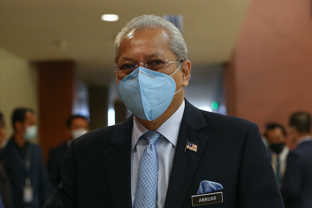 Federal Territories Minister Tan Sri Annuar Musa is pictured at Parliament in Kuala Lumpur August 3, 2020. — Picture by Yusof Mat Isa