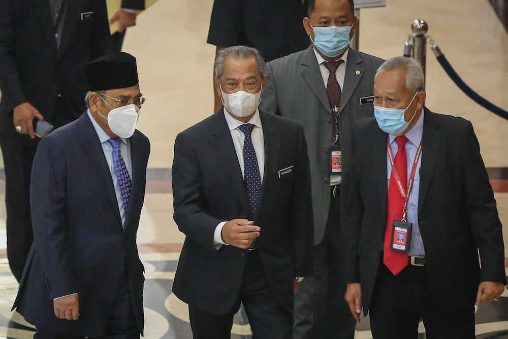 Prime Minister Tan Sri Muhyiddin Yassin is pictured at Parliament in Kuala Lumpur August 3, 2020. — Picture by Yusof Mat Isa