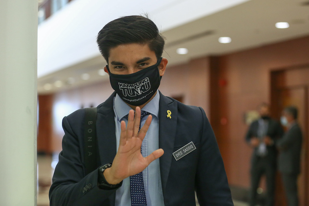 Muar MP Syed Saddiq Syed Abdul Rahman is pictured at Parliament in Kuala Lumpur August 3, 2020. — Picture by Yusof Mat Isa