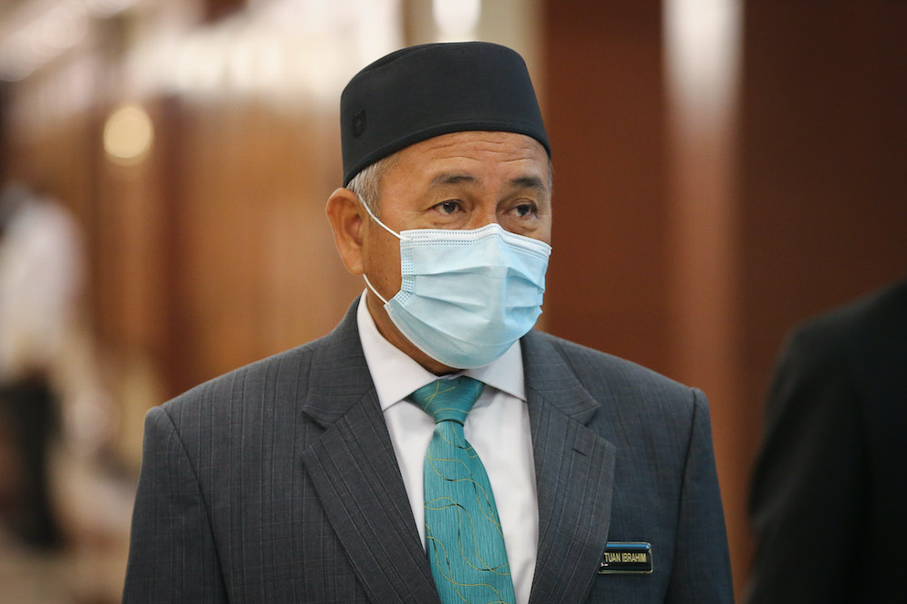 Environment and Water Minister Datuk Tuan Ibrahim Tuan Man is pictured at Parliament in Kuala Lumpur August 3, 2020. — Picture by Yusof Mat Isa