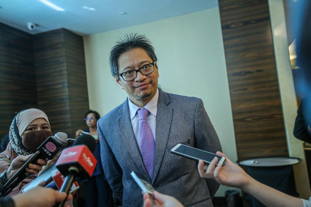 Election Commission acting chairman Azmi Sharom speaks to the media at at the Bersih workshop in Impiana Hotel, Kuala Lumpur August 4, 2020. — Picture by Hari Anggara