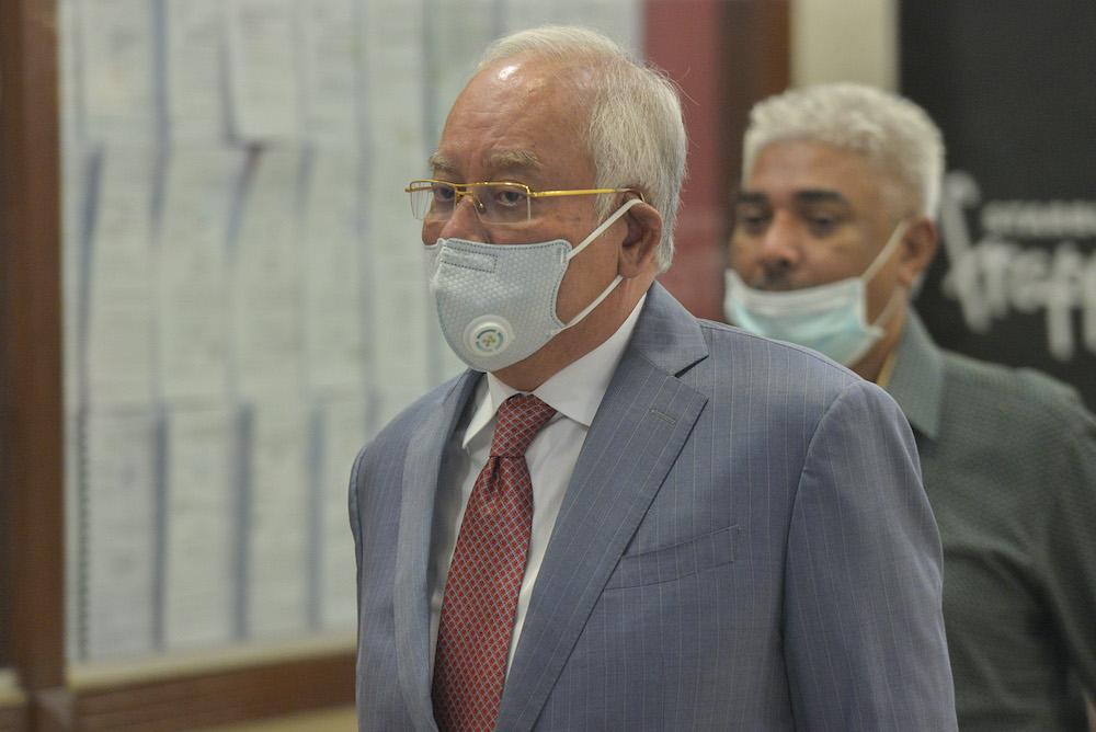 Datuk Seri Najib Razak is pictured at the Kuala Lumpur High Court, August 4, 2020. — Picture by Shafwan Zaidon