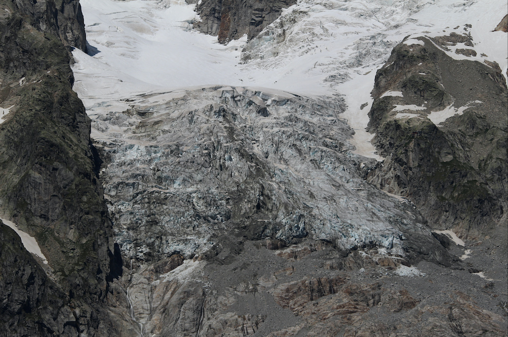 A segment of the Planpincieux glacier is seen on the Italian side of the Mont Blanc massif after renewed warnings that a big portion of the glacier is at risk of collapse, in Aosta, Italy, August 5, 2020. — Fondazione Montagna Sicura/handout via Reuters