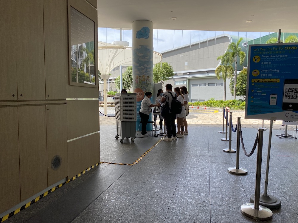 Visitors at the Singapore Flyer on July 23, 2020 when it reopened its doors. — TODAY pic