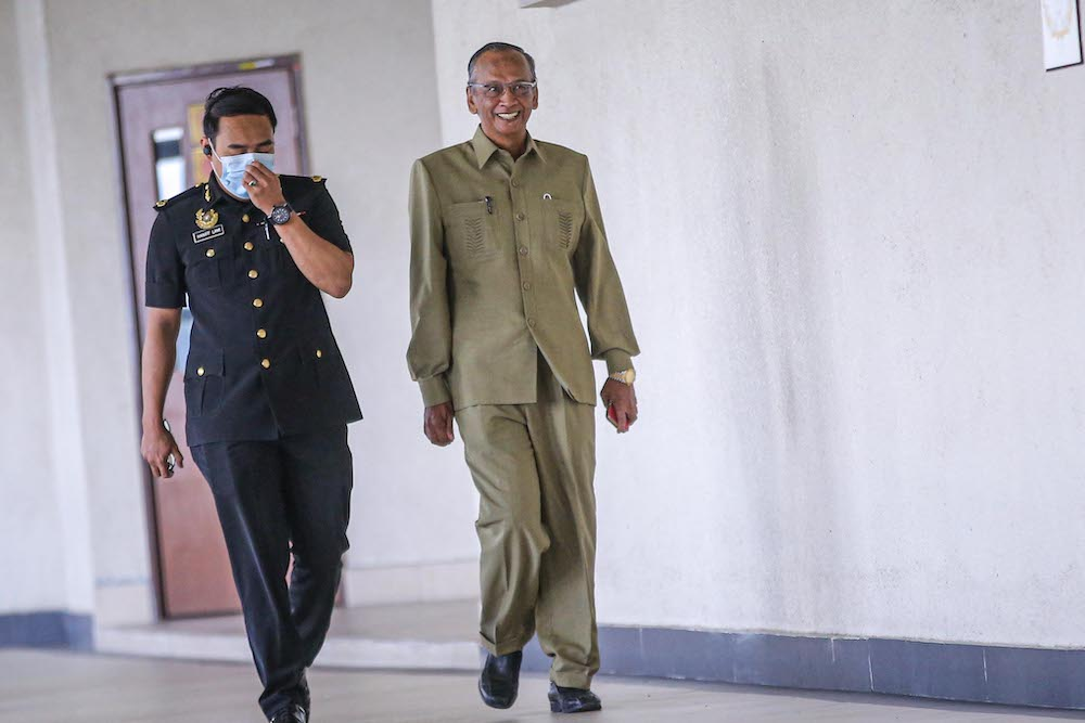 Former auditor-general (A-G) Tan Sri Ambrin Buang told the court that only an A-G may chair an exit conference, which he did not do at the meeting. — Picture by Hari Anggara