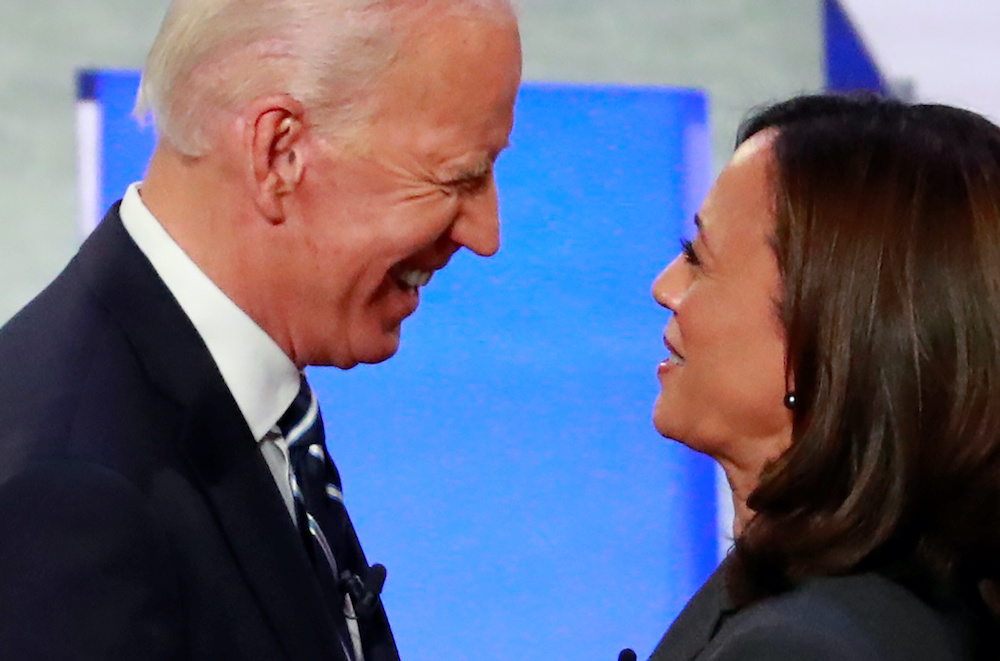Candidates former Vice President Joe Biden and US Senator Kamala Harris take the stage on the second night of the second 2020 Democratic US presidential debate in Detroit, Michigan, July 31, 2019. — Reuters pic