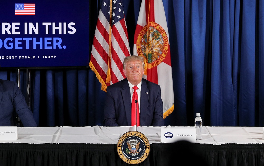 US President Donald Trump participates in a 'Covid-19 Response and Storm Preparedness' event at the Pelican Golf Club in Belleair, Florida July 31, 2020. — Reuters