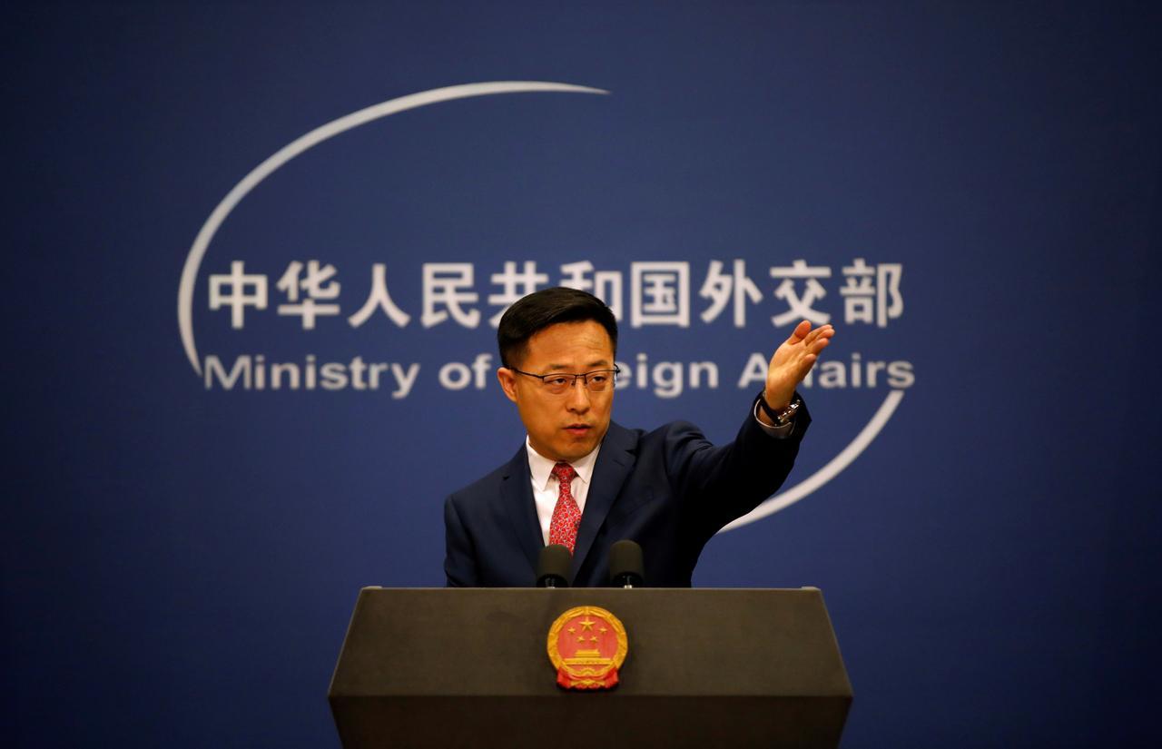 赵立坚指美国制裁11名中港官员的做法,严重违反国际法和国际关系基本准则。-路透社-