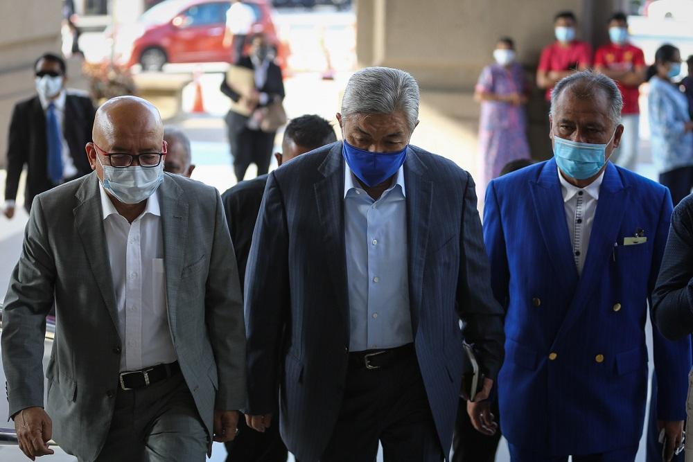 Datuk Seri Ahmad Zahid Hamidi arrives at the Kuala Lumpur High Court Complex August 10, 2020. — Picture by Yusof Mat Isa