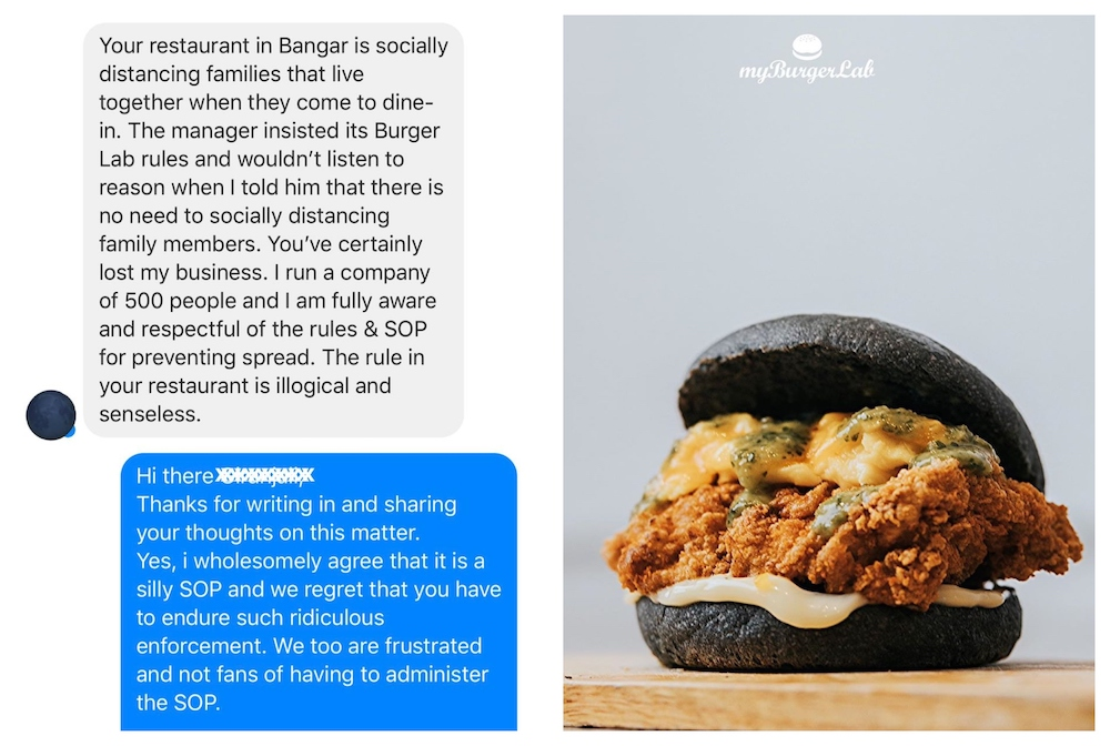 myBurgerLab shares a screenshot of a customer who was unhappy to follow the social distancing rules at the fast-food restaurant. – Picture via Facebook/myBurgerLab