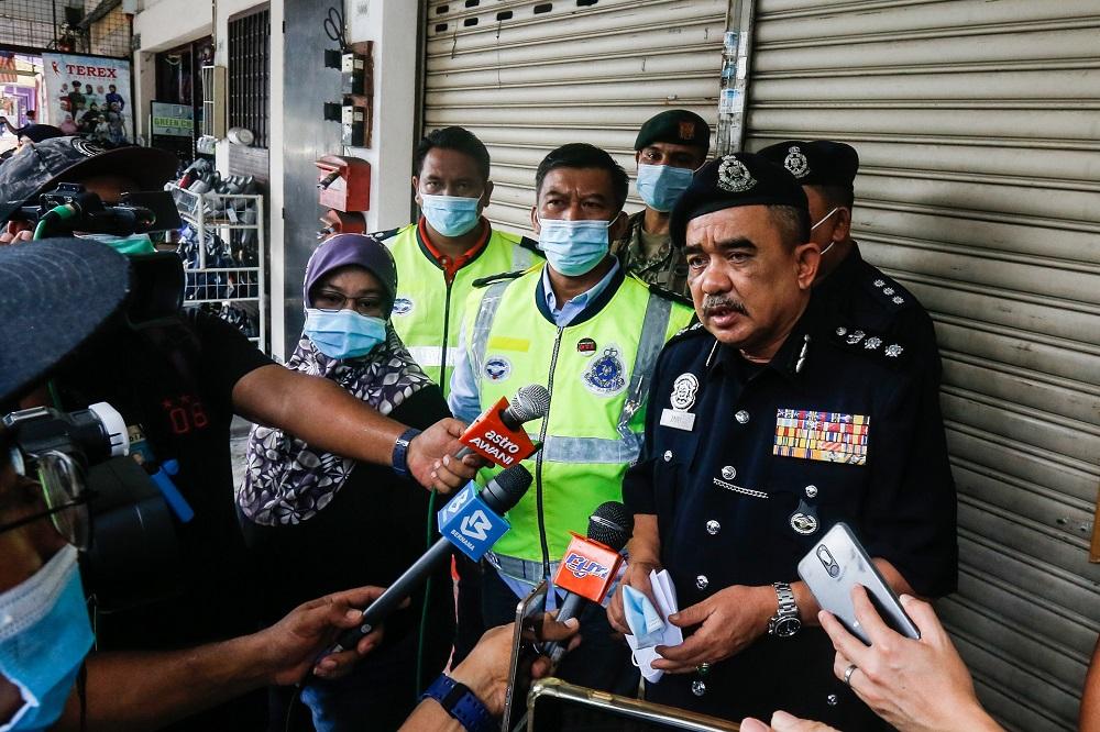 Northern Seberang Perai Police Chief ACP Noorzainy Mohd Noor speaks to reporters during a raid on an illegal gambling den at Bertam Putra, Kepala Batas August 13, 2020. —  Picture by Sayuti Zainudin