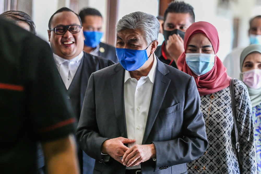 Datuk Seri Ahmad Zahid Hamidi is pictured at the Kuala Lumpur High Court August 25, 2020. — Picture by Firdaus Latif