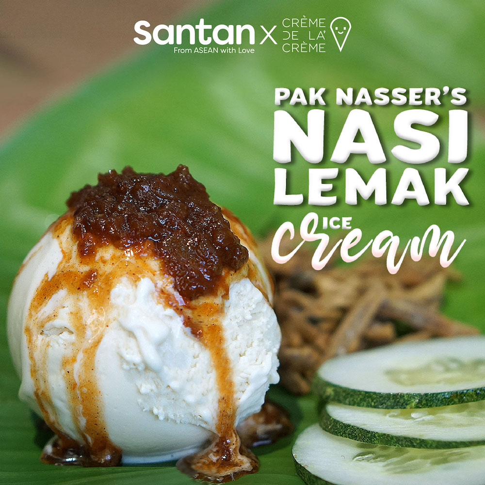 The nasi lemak ice cream replicates the signature taste profile of Santan's famous Pak Nasser's nasi lemak sambal. —Picture courtesy of Santan
