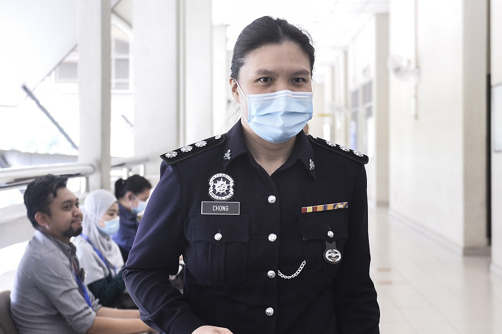 Negri Sembilan Criminal Investigation Department's Sexual, Women and Child Investigations Division (D11) officer Assistant Superintendent Chong Mee Chyi  is seen at the Seremban Courthouse August 27, 2020. — Picture by Miera Zulyana