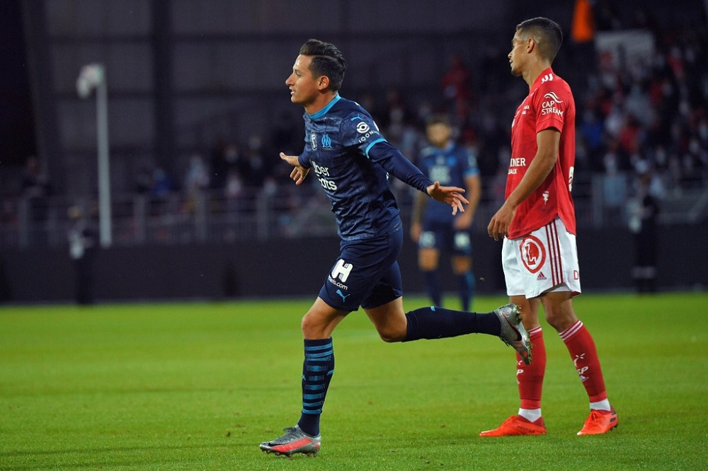 Marseille's French forward Florian Thauvin celebrates after scoring a goal during the French L1 football match between Brest (SB29) and Marseille (OM) at the Francis Le Ble Stadium in Brest, western France August 30, 2020. — AFP pic