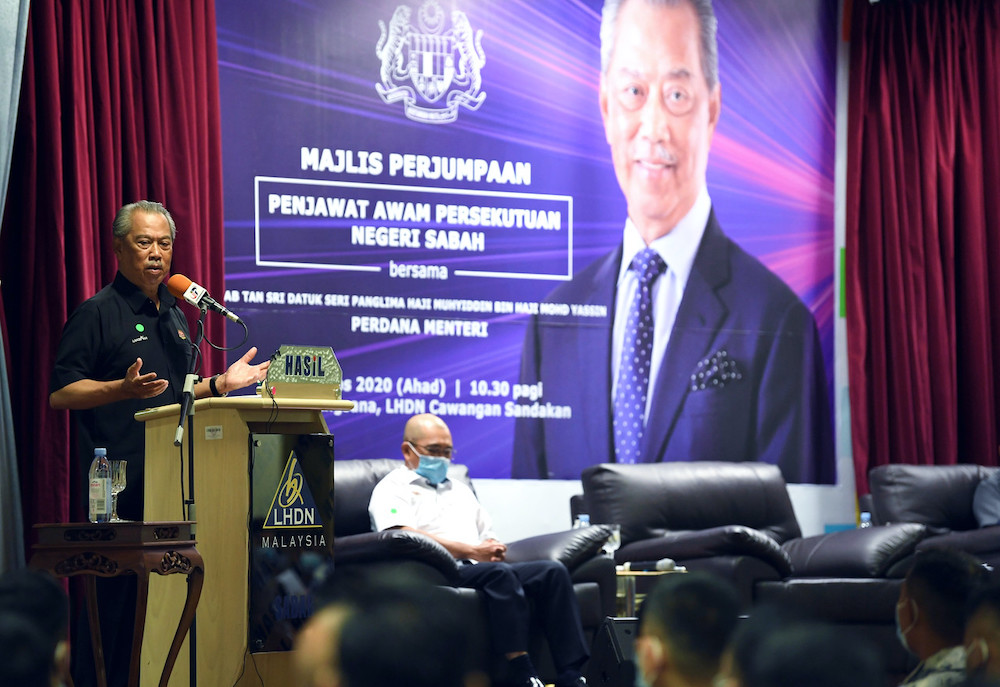 Prime Minister Tan Sri Muhyiddin Yassin speaks during a gathering with civil servants in Sandakan August 30, 2020. — Bernama pic