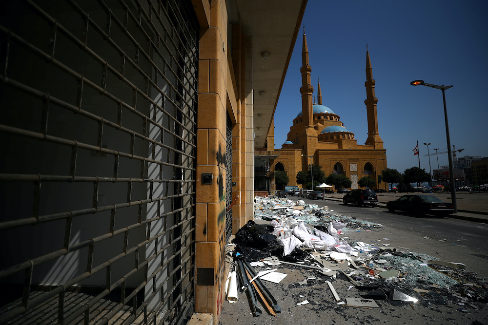 Debris are seen on the street near Mohammad Al-Amin Mosque following Tuesday's blast in Beirut's port area, Lebanon August 8, 2020. — Reuters pic