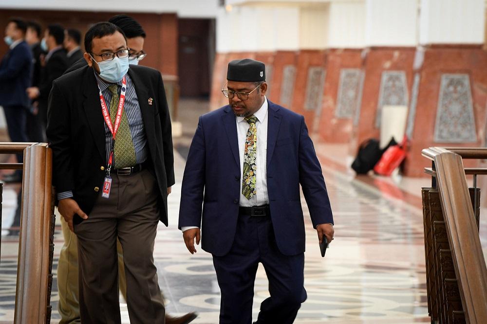 Plantation Industries and Commodities Minister Datuk Mohd Khairuddin Aman Razali is seen at the Parliament August 26, 2020. — Bernama pic