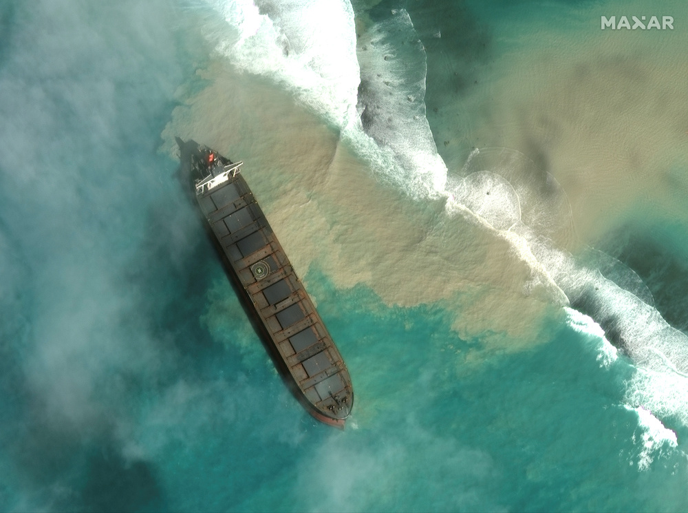 A satellite image shows MV Wakashio, a bulk carrier ship that ran aground off the southeast coast of Mauritius, August 1, 2020. Picture taken August 1, 2020. — Reuters pic