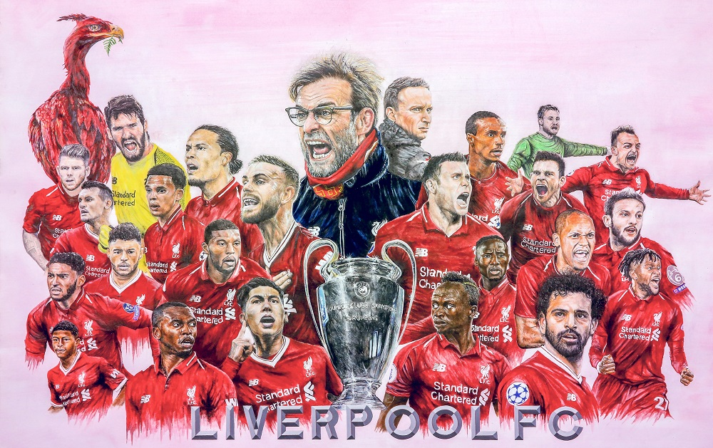The portrait painting of Liverpool Football Club required a lot of time and discipline from Ganeswaran. — Picture by Ganeswaran Segar