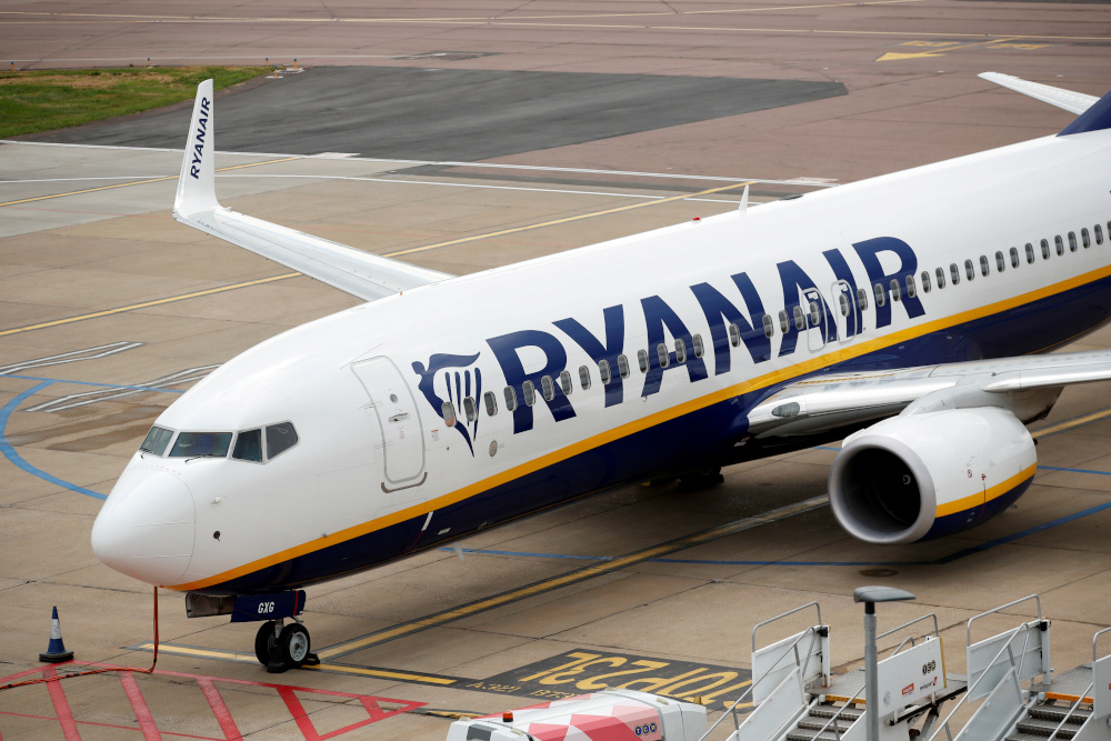 A Ryanair Boeing 737 is seen at Luton Airport, following the outbreak of the coronavirus disease, Luton, Britain, April 26, 2020. — Reuters pic
