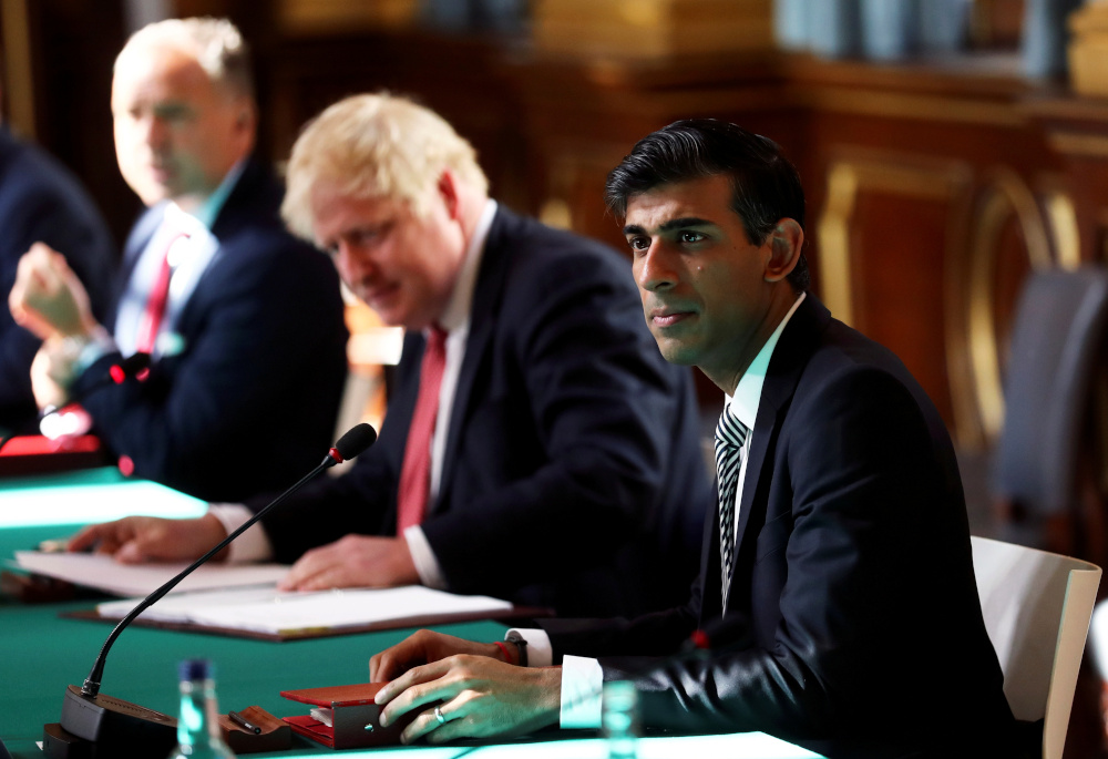 Britain's Chancellor of the Exchequer Rishi Sunak attends a face-to-face meeting of the cabinet team of ministers at the Foreign and Commonwealth Office (FCO) in London, Britain, July 21, 2020. — Reuters pic