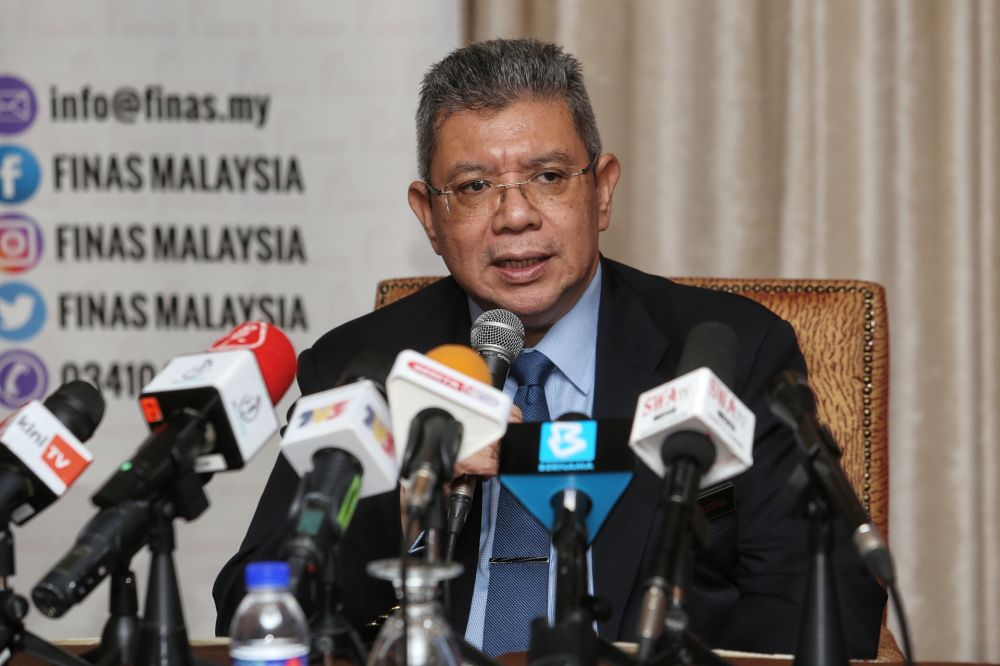 Communications and Multimedia Minister Datuk Saifuddin Abdullah speaks during a press conference at the Putra World Trade Centre in Kuala Lumpur August 26, 2020. — Picture by Choo Choy May