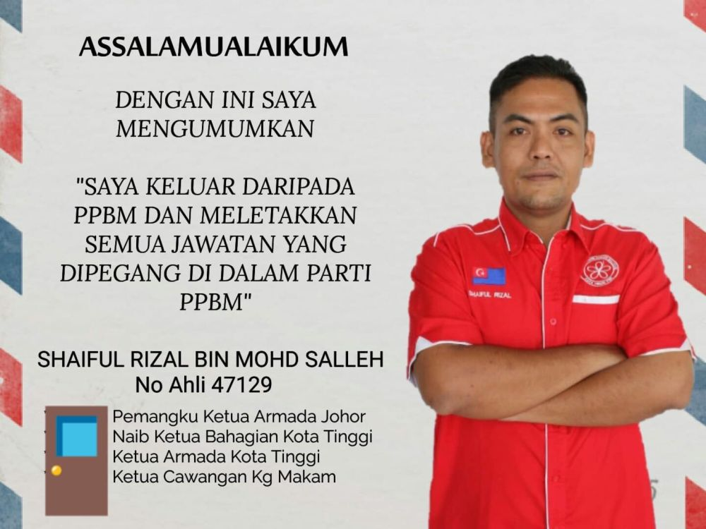 Shaiful Rizal Mohd Salleh announced his resignation from Bersatu in a Facebook post. — Picture via Facebook
