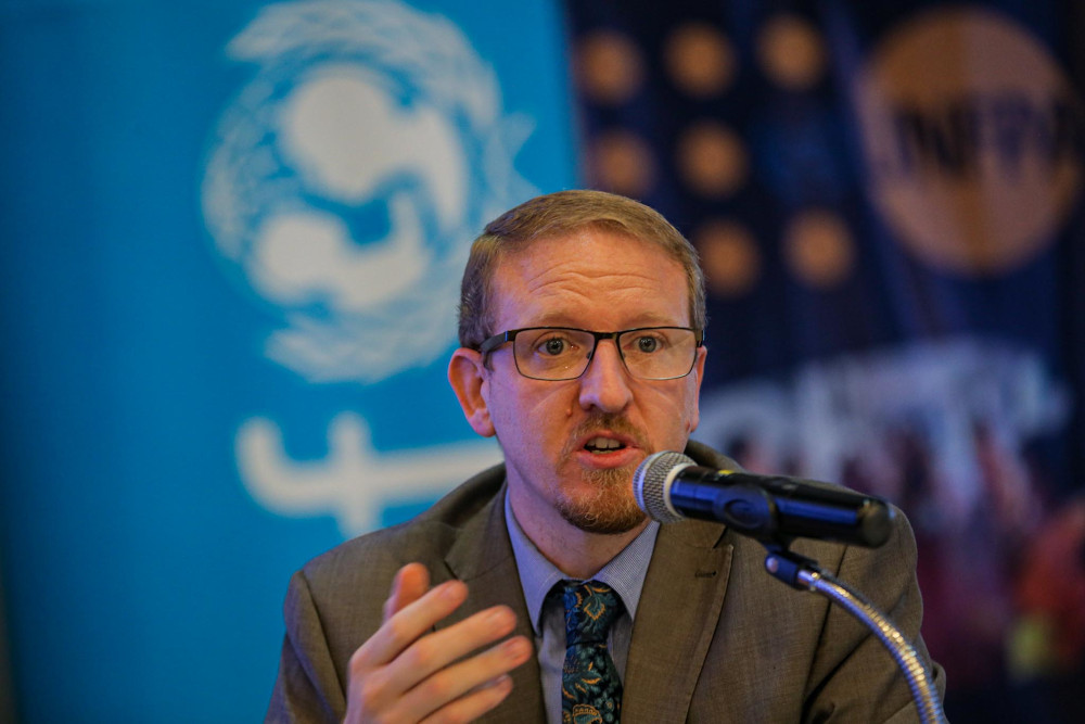 Unicef Malaysia's social policy chief Stephen Barrett giving his speech during the launch of the Unicef-UNFPA study at Roof Garden Lounge, Sime Darby Convention Centre August 24, 2020. ― Picture by Hari Anggara
